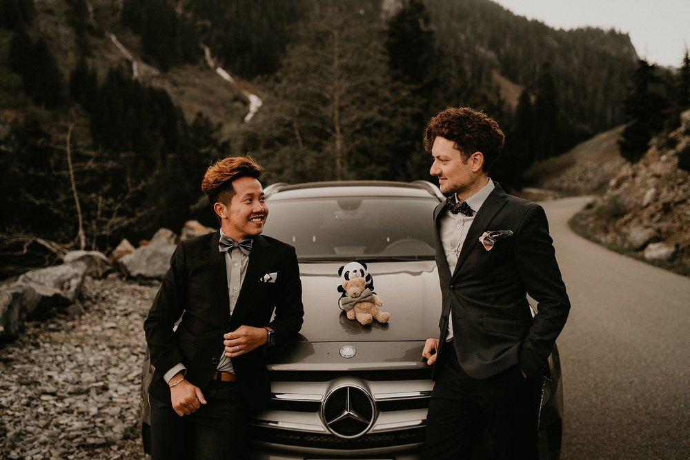 Snoqualmie Pass Franklin Falls gay couple wedding elopement engagement Mercedes