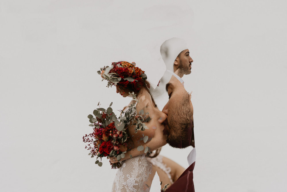 Double exposure olympic and mount rainier national park wedding