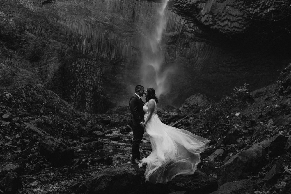 Oregon Waterfall Elopement Latourell Iceland