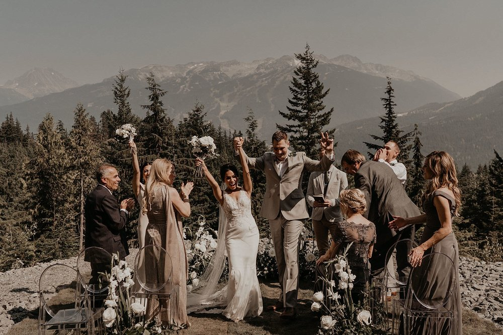 First kiss after epic elopement in Whistler Canada Pacific Northwest