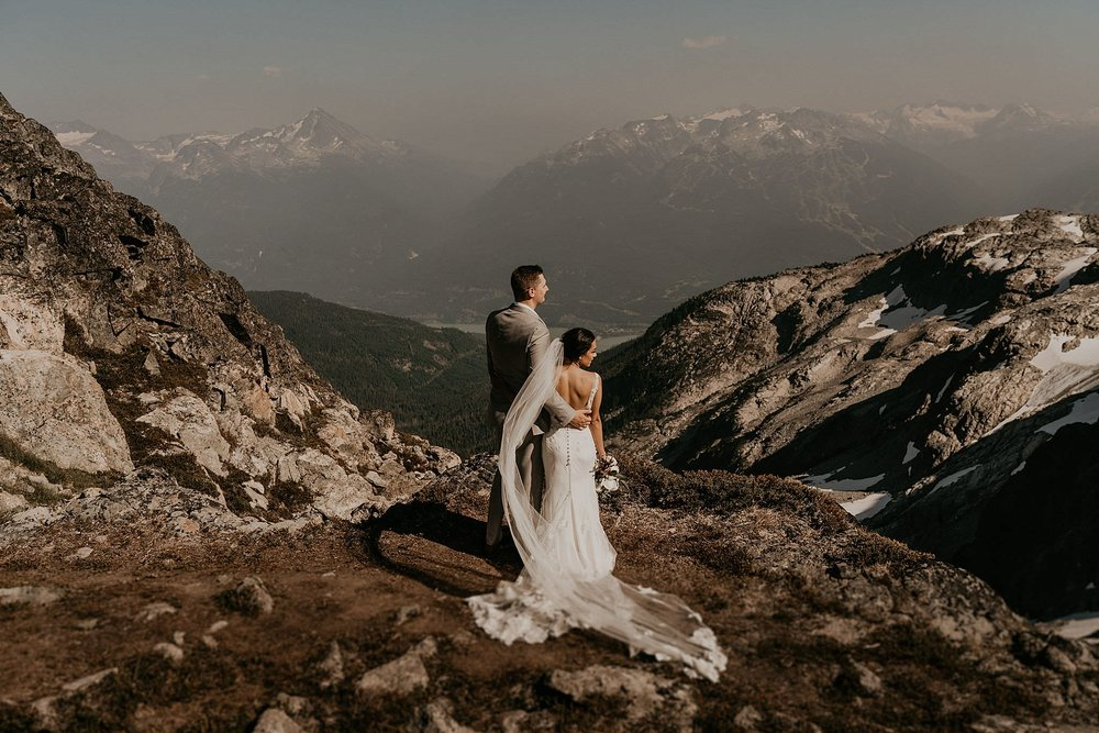 Epic mountain views for elopement in the Pacific Northwest from Blackcomb helicopter ride whistler