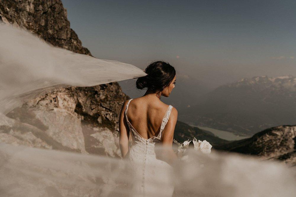 Jinza bridal wedding dress in epic adventure elopement in whistler
