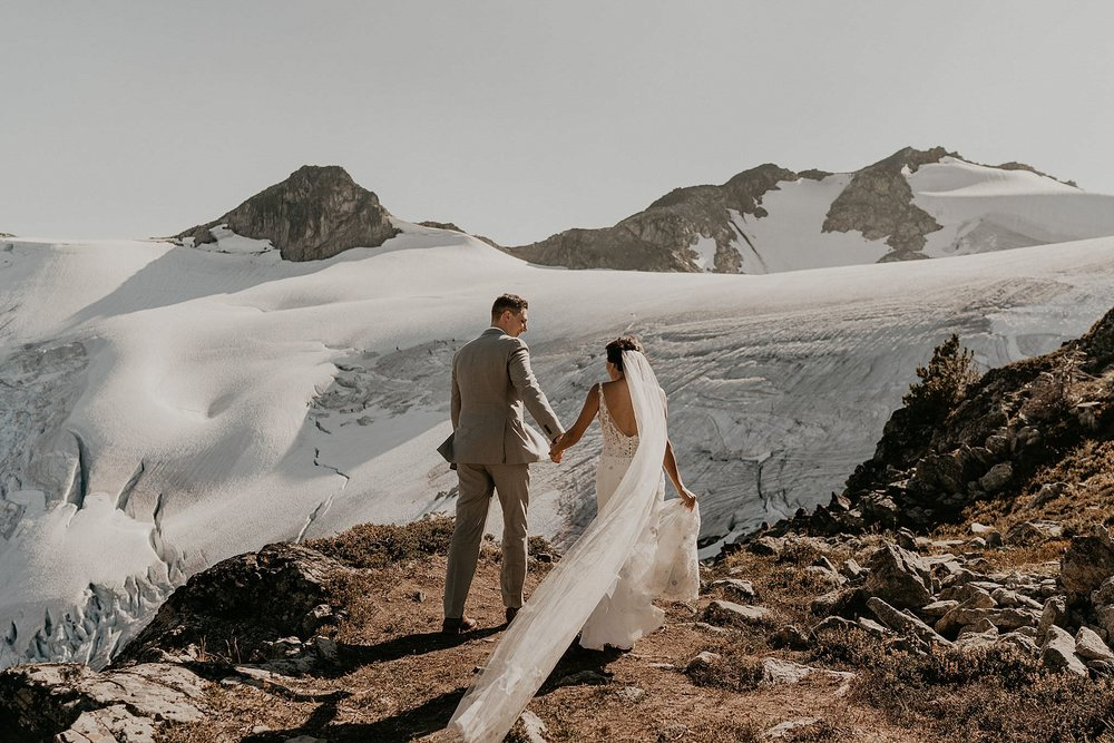 Glacier on top of whistler mountain from helicopter elopement