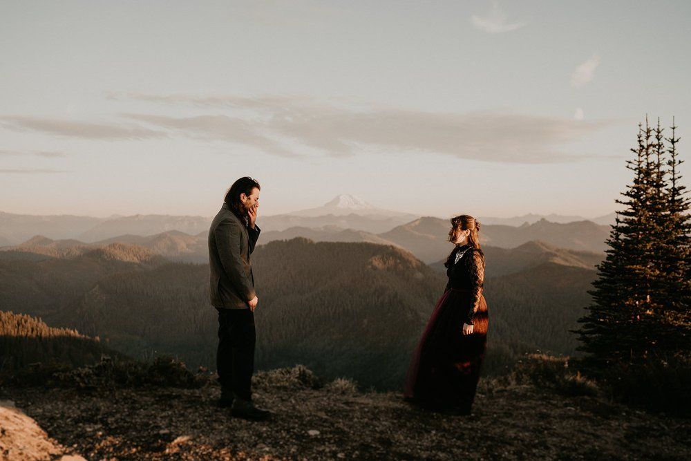 First Look Moment - Mount Rainier National Park Adventure Elopement
