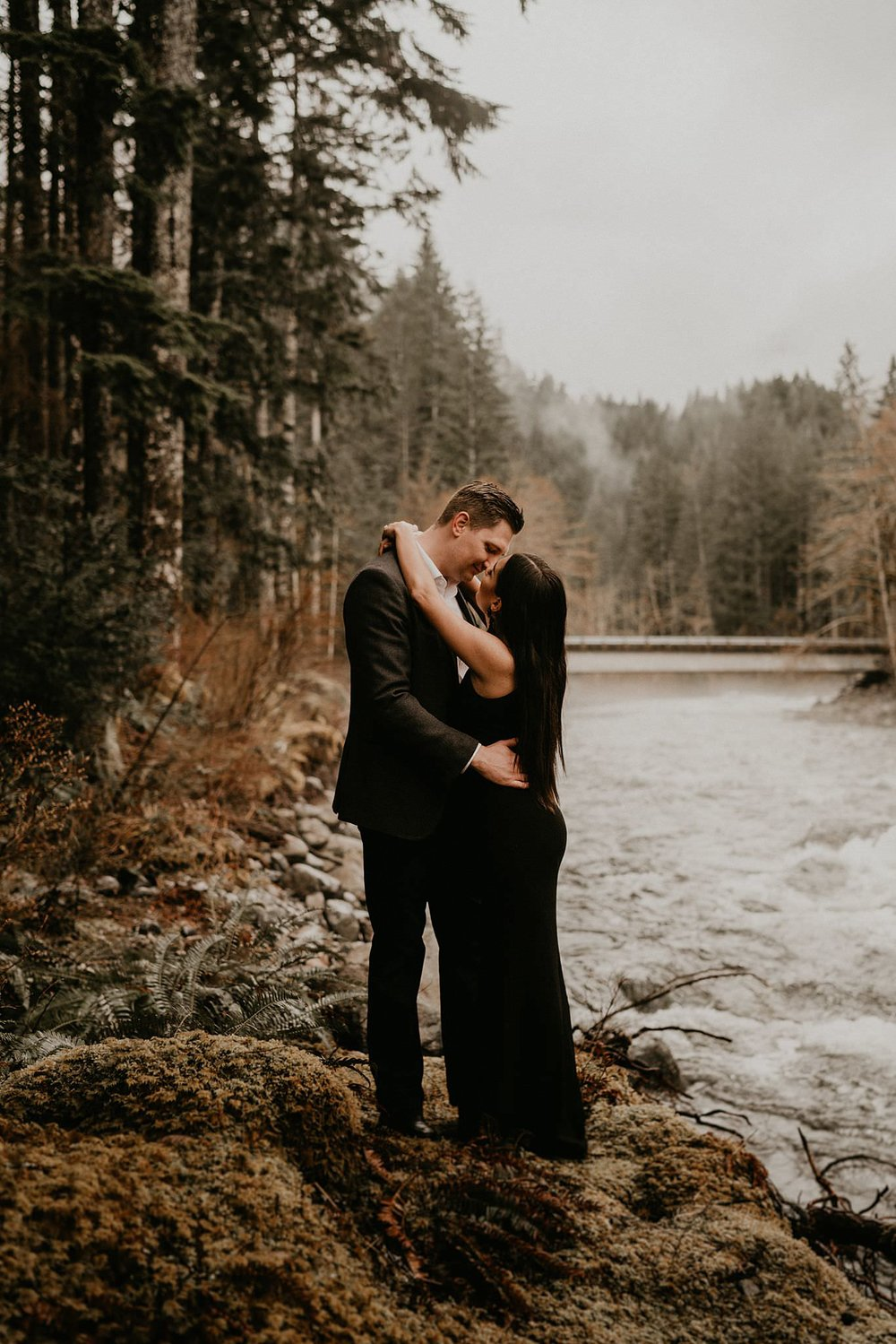 Foggy and moody engagement photo in the Pacific Northwest