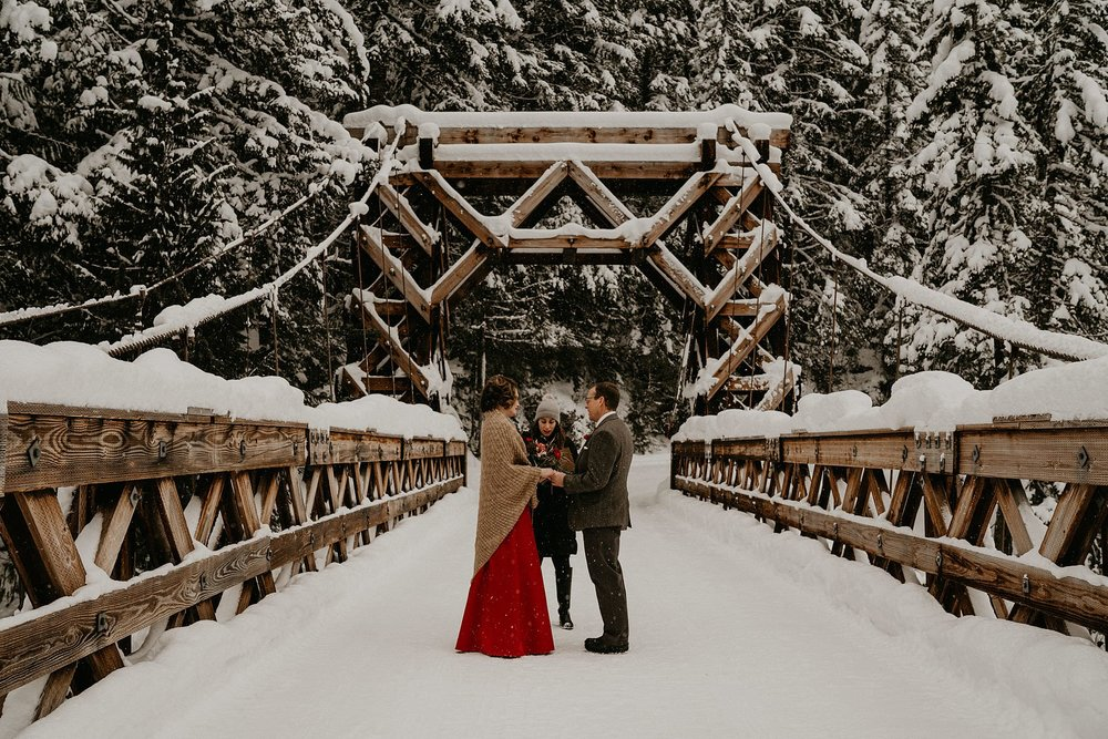 Snow winter elopement on mount rainier national park