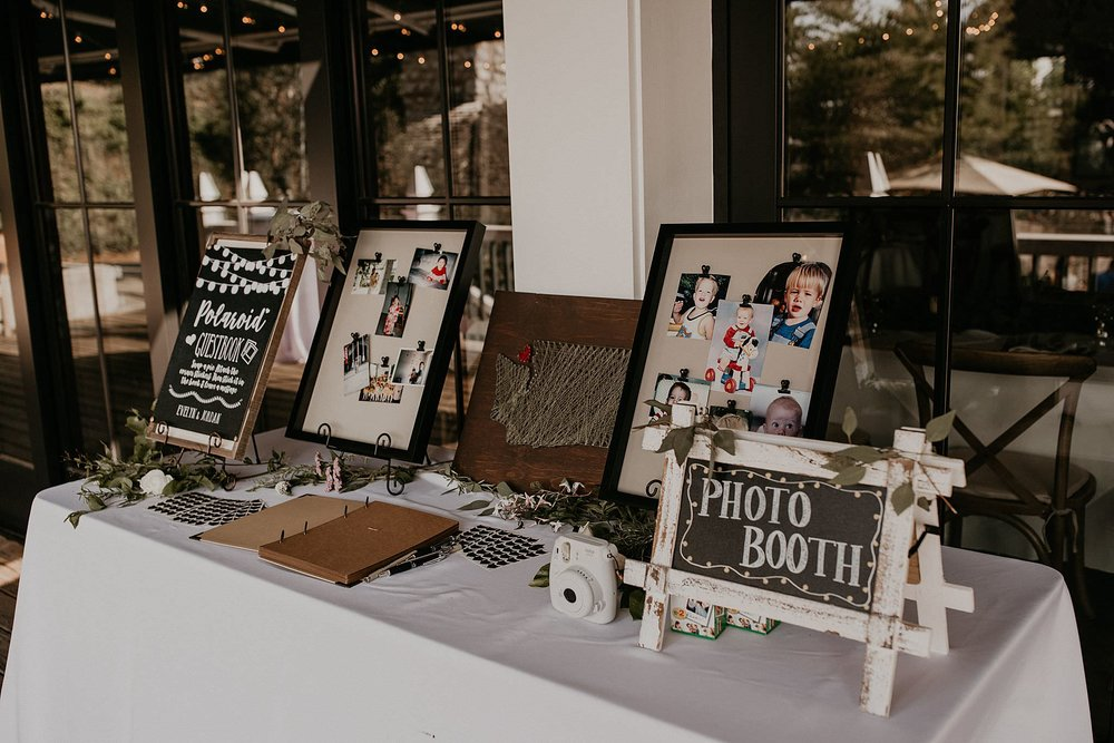 Photo Booth table at Roche Harbor wedding