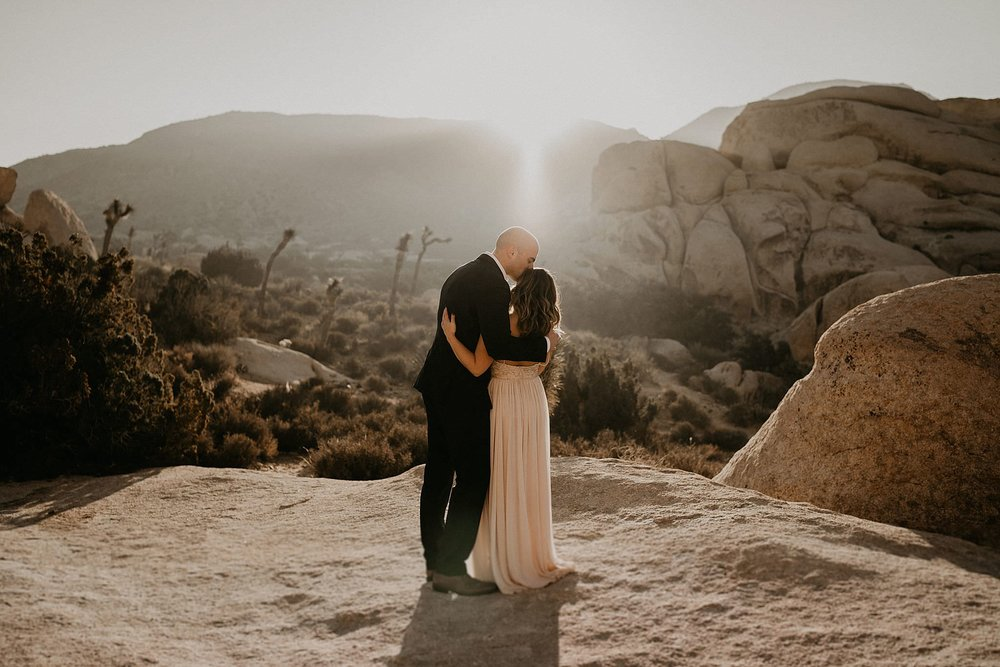 Bride and groom at Joshua Tree national park on their wedding day