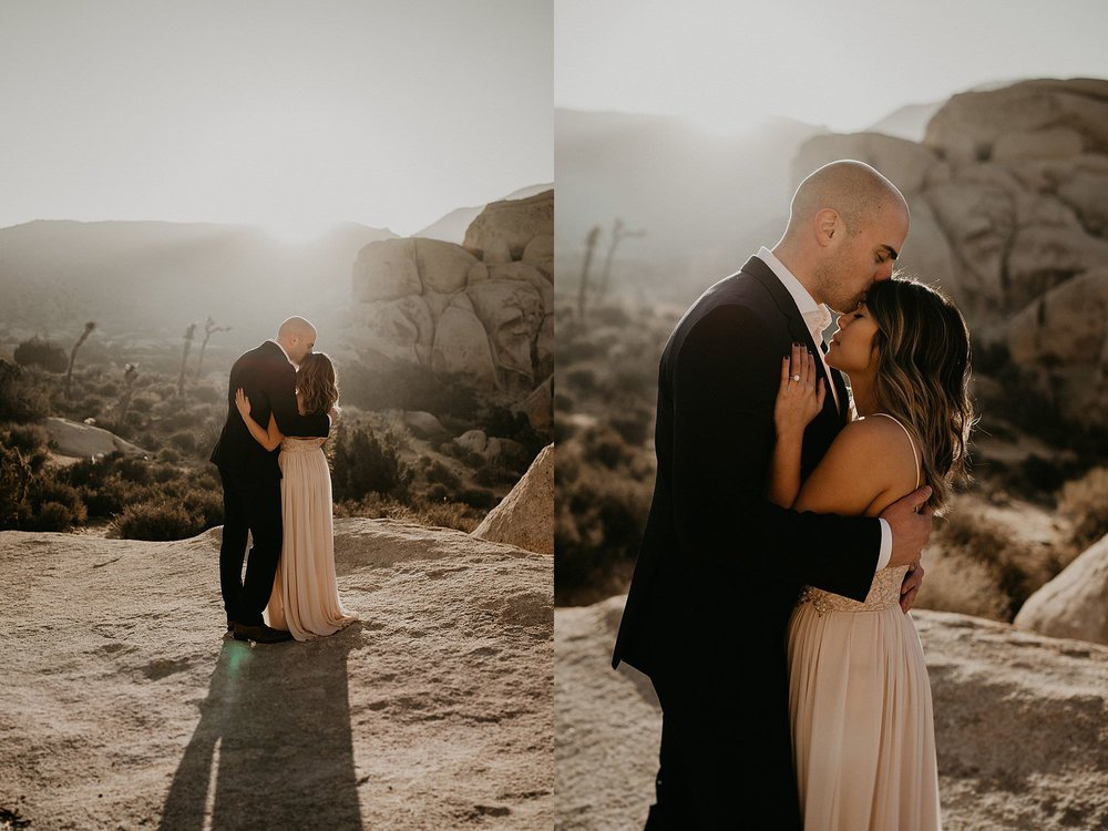 California sun shining on bride and groom on their elopement day
