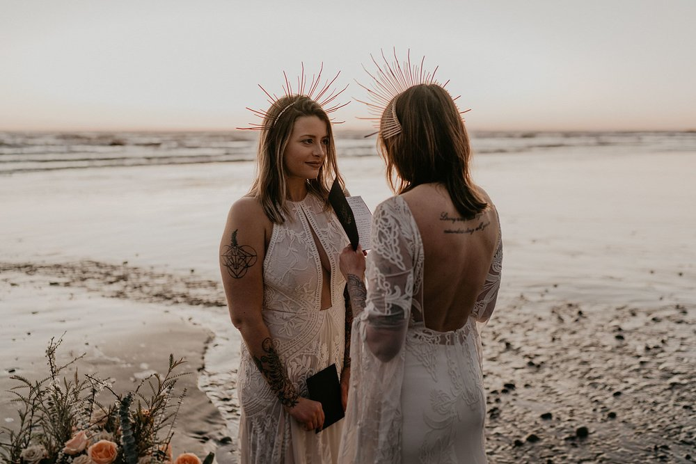 A pacific northwest wedding and vow renewal at Ruby Beach Olympic National Park as seen on junebug weddings