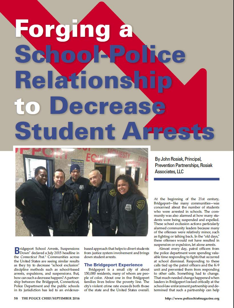 Article published in IACP's Police Chief magazine September 2016 issue describes how one community keeps youth out of justice involvement by doing four things right.