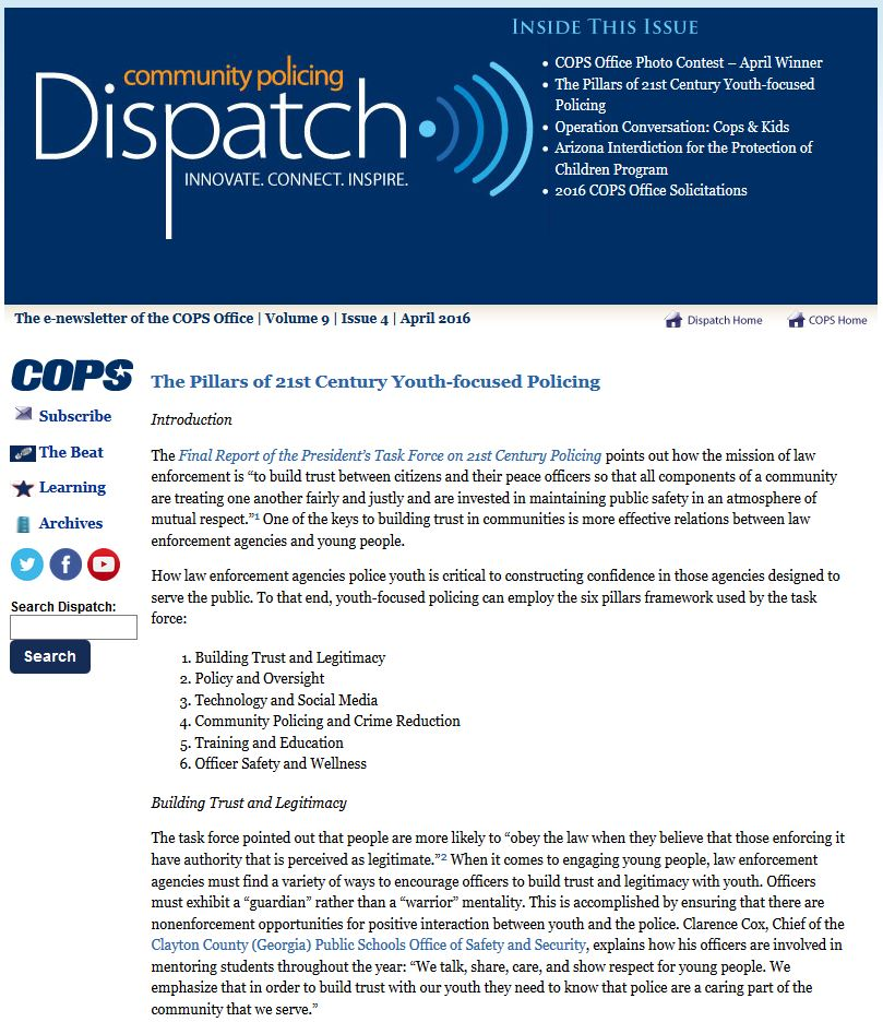 Article examines how the Task Force on 21st Century Policing identified ways the six pillars apply to youth-focused policing. Click to see condensed version on COPS Dispatch.