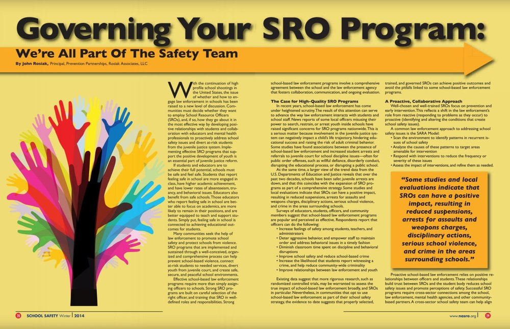 Often-cited article appeared in NASRO's Journal of School Safety, Winter 2014. Spells out key components of Memoranda of Understanding (MOUs) and other foundational ingredients.