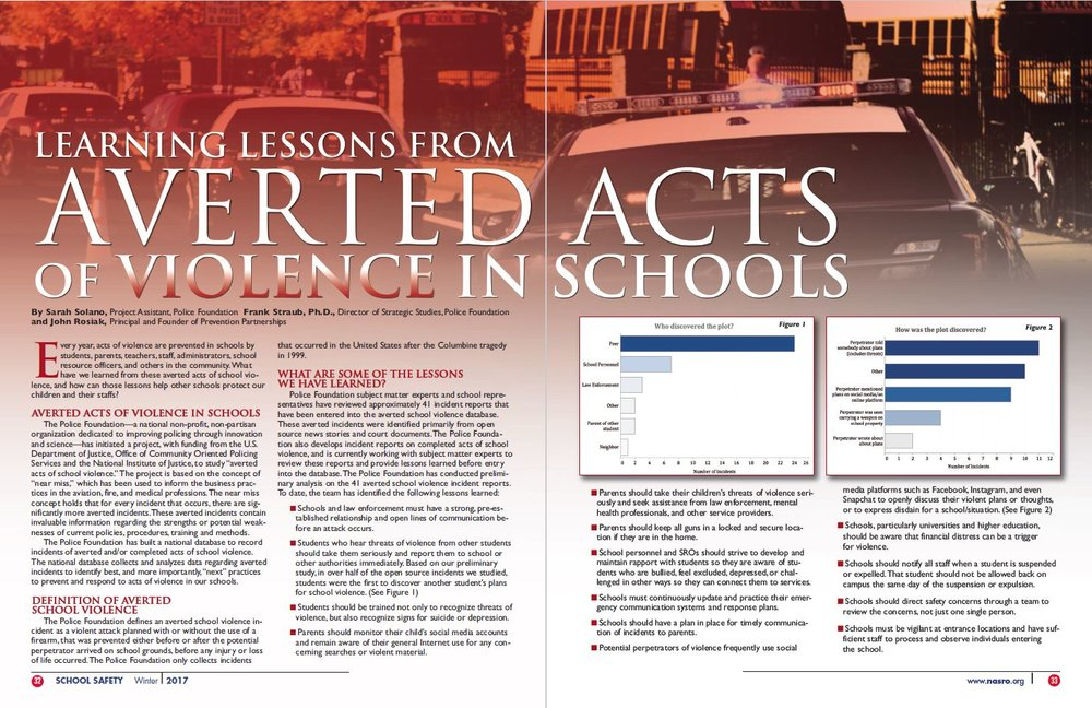 Coauthored article in Winter issue of JOSS on the lessons learned from cases where violence at school has been averted. Also appeared in Campus Safety Magazine, July 2018.