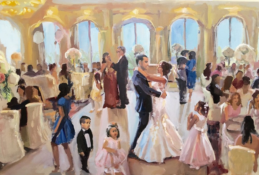 """This was a surprise gift for my husband on the day of our wedding. He was speechless and so were a lot of our guests at the event. The painting included our first dance and both of our daughters in there. How amazing to have this piece of art hanging on our wall for years and years to come. It truly is priceless, we both fell in love with it."" Tanya and AJ, Bahia Resort Hotel, San Diego"