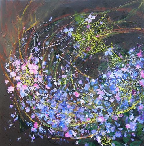"Maple Street Hydrangeas <br> 30""x30"" Acrylic on Canvas"