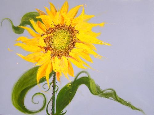 "Schoolyard Sunflower <br> 30""x40"" Acrylic on Canvas"