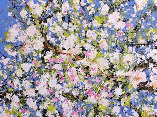 """Vancouver Spring: Cherry Blossoms on Maple St. <br>  30""""x40"""" Acrylic on Canvas"""