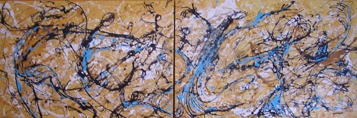 """Dancing in my Favorite Turquoise Dress <br> 24""""x72"""" Acrylic on Canvas<br>  SOLD"""