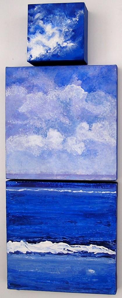"""Ocean Sky <br> 12""""x12""""/12""""x12""""/6""""x6"""" Acrylic on Canvas"""