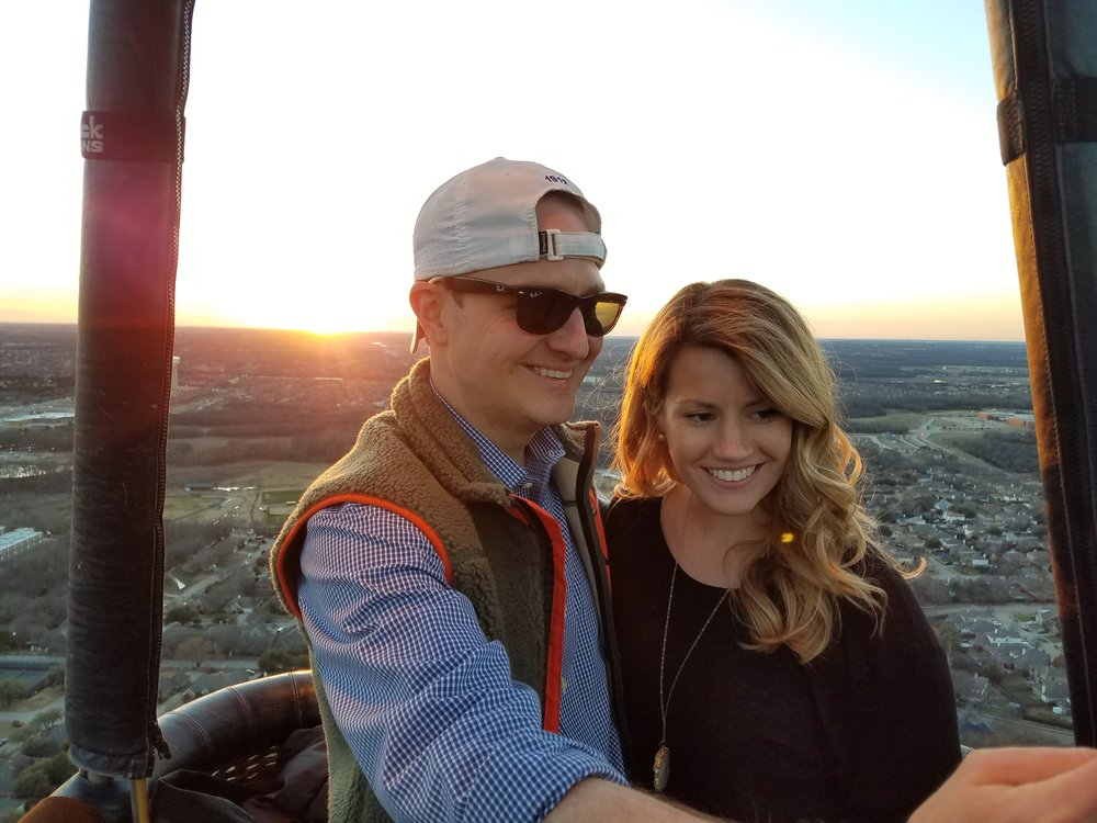 Hot air balloon ride over Plano, Texas