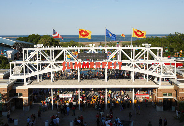 Summerfest - Summerfest is an annual music festival held at the 75-acre Henry Maier Festival Park along the lakefront. The festival lasts for 11 days, is made up of 11 stages with performances from over 800 acts.