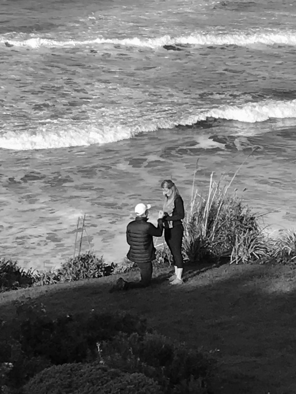 THE PROPOSAL - We were visiting family and friends in Arche Cape, Oregon for Thanksgiving, staying at a beautiful house on the ocean. He wanted to create that perfect moment on the beach. Unfortunately, the weather had other plans. One of the last mornings the skies finally cleared and he insisted we take our coffee outside. Standing on the edge of the bluff, in the first bit of sunshine we had seen for days, he popped the question. Naturally, I said yes.Champagne and a hike up Neahkahnie Mountain followed.