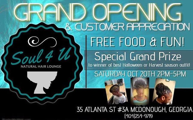 It's that time to show some appreciation for you guys continued support and love.....#soul4u #itsanexperience #grandopening #goodvibes #goodmusic #food #fun #games #giveaways #naturalbeauties #naturalhaircommunity #blackgirlmagic #blackexcellence #savethedate