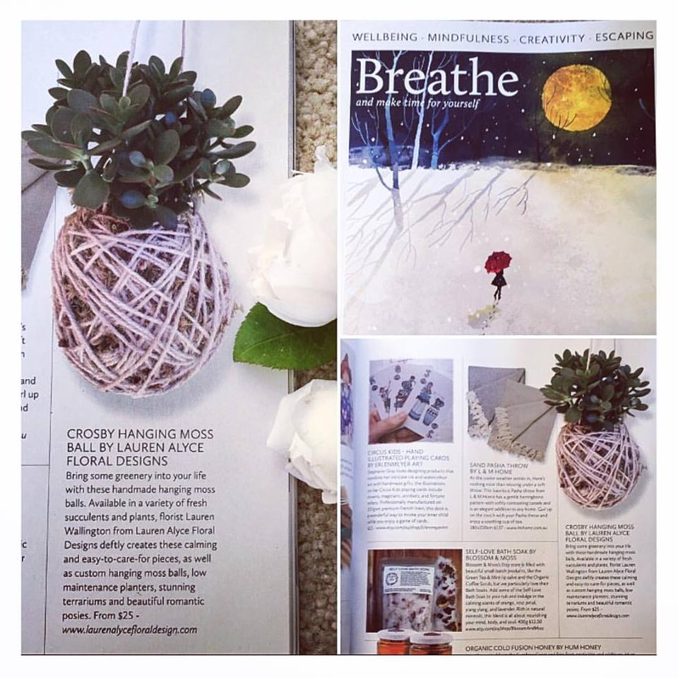 Breathe Magazine - Thank you to the lovely people at Breathe magazine, who featured my little moss ball in issue 3.