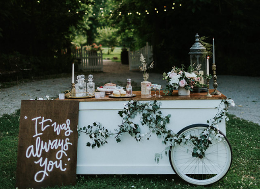 Our beautiful, hand-built bicycle bar. Adding a touch of vintage elegence to your event.