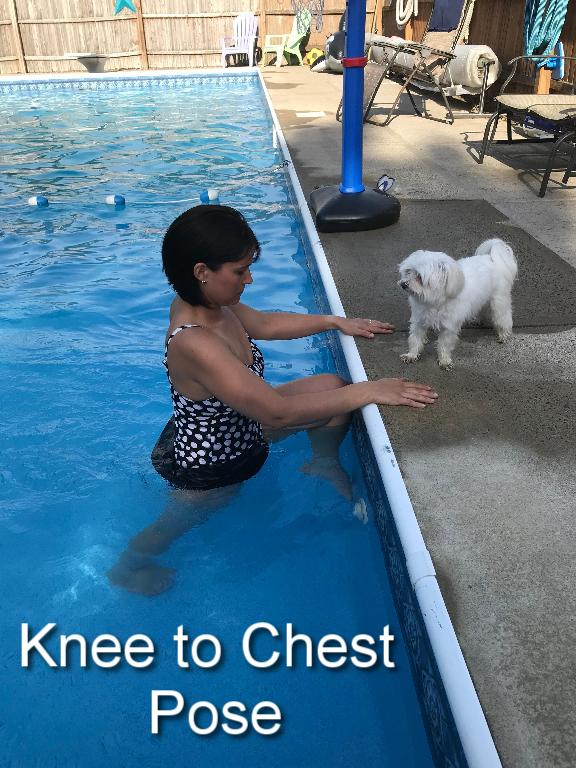 Hold on to the side of the pool. Making sure to keep your back straight, lift one leg and rest it against the side of the pool. Hold for up to one minute. Slowly lower the leg back down and then switch legs, doing the same thing on the other side.