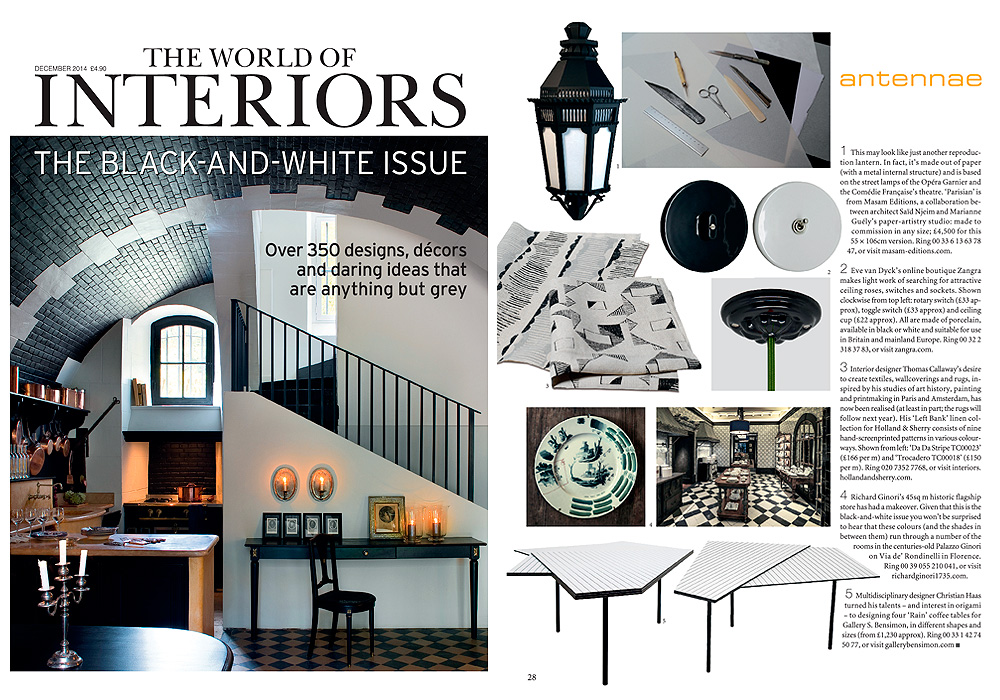 THE WORLD OF INTERIORS  Antennae  December 2014