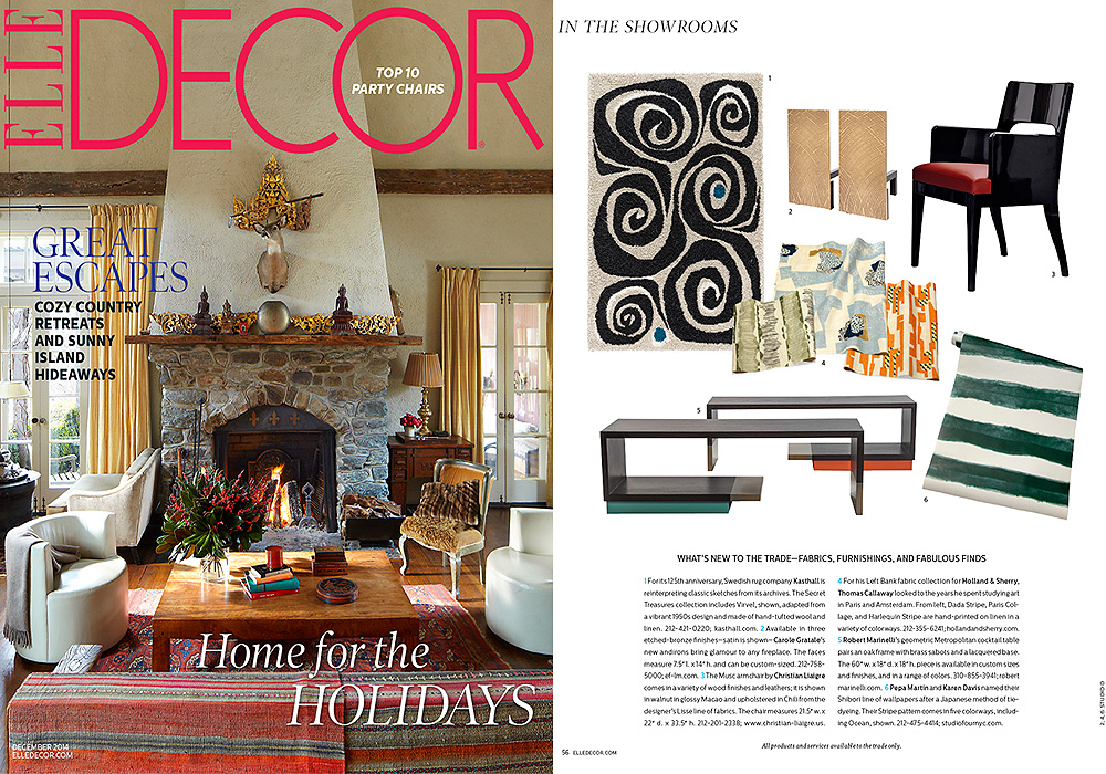 ELLE DECOR  In The Showroom  December 2014