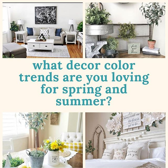 We would love to know your fave spring and summer decor colors!! What are your decorating essentials for the season?  Who do you watch for the trends? . . . #springdecortrends #springdecor #colortrends #decorinspo #decortrends #summerdecor #lemondecor #neutraldecor #woodsandwhites #greenery🌿 #farmhousedecorating #modernfarmhouse #farmhousedecor #cozyhome
