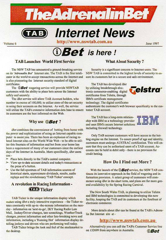 History: The first press release for the world's first Internet Wagering site: