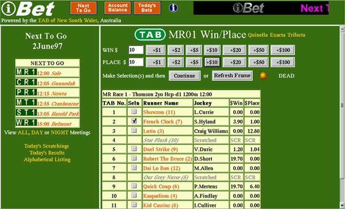 History: The iBet betting screen