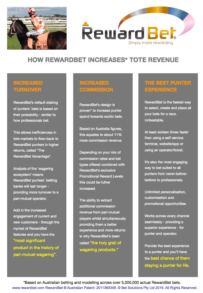 "More turnover, more commission revenue and faster customer betting placement with higher engagement and a reduced barrier to entry for new customers is why the Head of Wagering for Tabcorp said ""RewardBet® Ticks All The Boxes""."