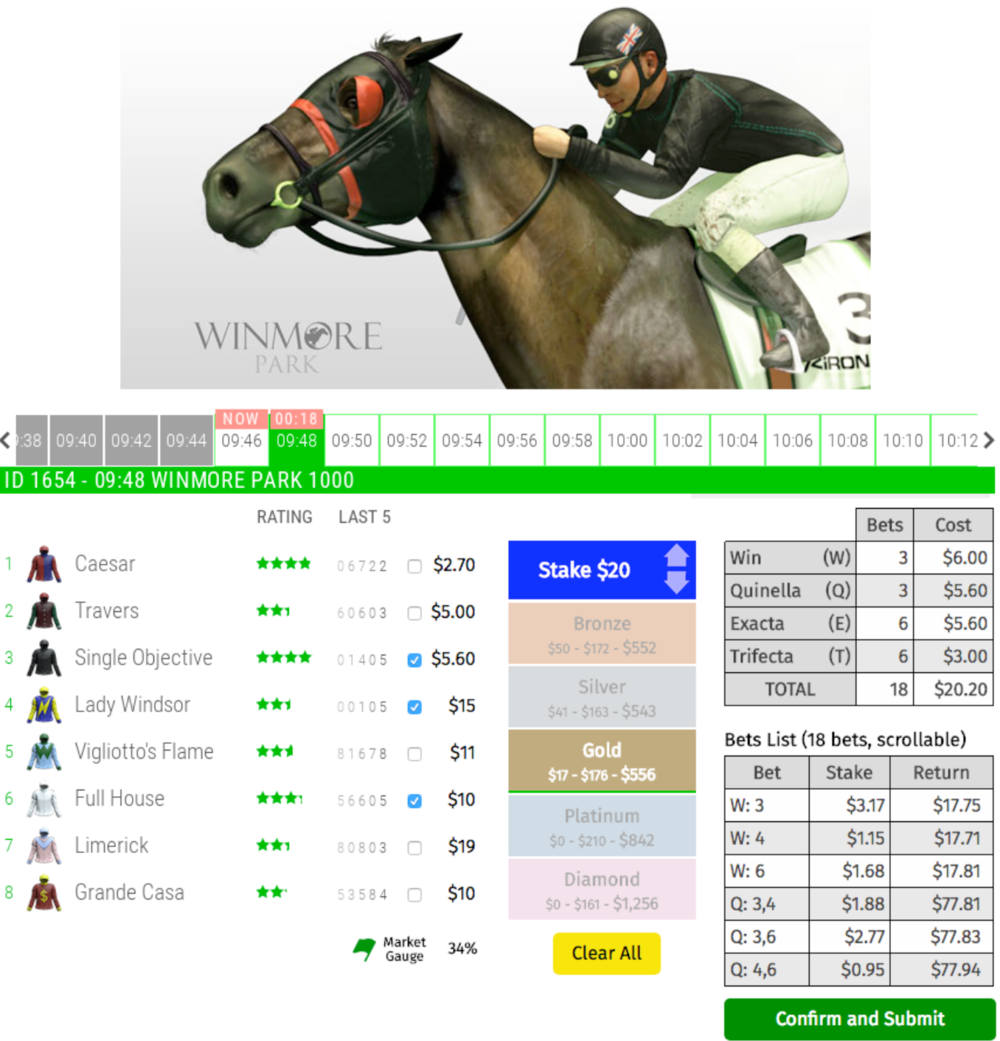 A working-prototype of RewardBet's Interface on a Virtual Racing product reduces the number of clicks for the customer by about 20 fold to place a bet. Vitally important when there's a virtual race every two minutes with about 1 minute to 'place your bets'.