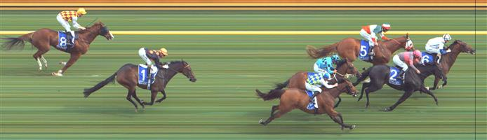 🏆🏆🏆Result :  1st  at SP $7.00, Best Tote $8.10, Betfair $8.70. Fifth one off the rails a number of lengths from the lead setting a true speed. On the turn three wide looking to make its run. Found clean air when straightening, making good ground and after looking to just be battling away managed to get its head in front in the final stages to claim victory. Nice grounding persistant victory. Outcome +5.76 Units.