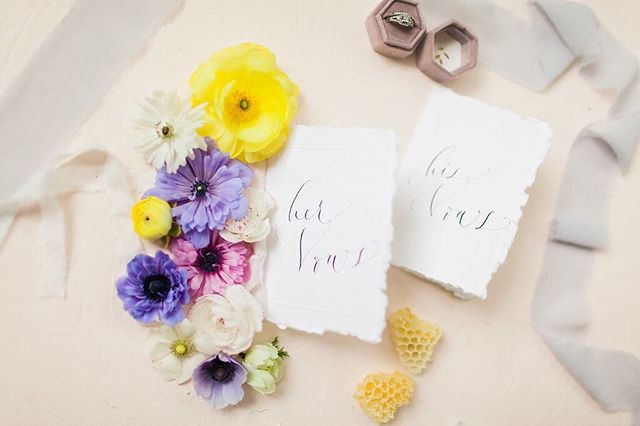 Little teeny vow booklets for a summery shoot this spring. I think I'm going to go to a once-weekly IG schedule for now. I just started a regular, 40 hour a week job today and keeping up with IG just can't fit on my daily agenda anymore. With that said, I guess I can also let you all know that wedding stationery is going on the back burner indefinitely. I might come back to it, or I might not. I'm thinking of switching to greeting cards and *maybe* semi-custom invitations, but no fully custom work for a while. • Paper: @fabulousfancypants Venue: @treehousevineyards Florals: @sophisticatedflorals Photographer: @eliz.marie Wood Cutting Board: @thecrystalshoppe Ring Box: @everlybox Makeup: @hannahrayehair Hair: @hairby_ashleighnicole Honey Goods: @dancingbeesmonroe Gowns: @lilyrosebridal Invitations/Seating Chart: @chaunceycalligraphy Vintage Rentals and Styling: @vintage_indigo_rentals Cake: @bowtiebakery Coordination: @lirusher Models: @breannaleonard and @chughes008 Ceremony Backdrop Screen: Twice Loved Vintage • • • • • • • • • #vows #vowbook #wedding #weddingwork #weddingvows #pursuepretty #dailydoseofpaper #handmadepaper #cottonpaper #summerwedding #springwedding #stationery #customstationery #bespokewedding #bespokestationery #stationerydesign #paperlove #stationerylove #stationerydesign #calligraphy #calligrapher #styledphoto #photography #flatlay #florals #flowers #honey #honeyandbloom #treehousevineyards #fabulousfancypants