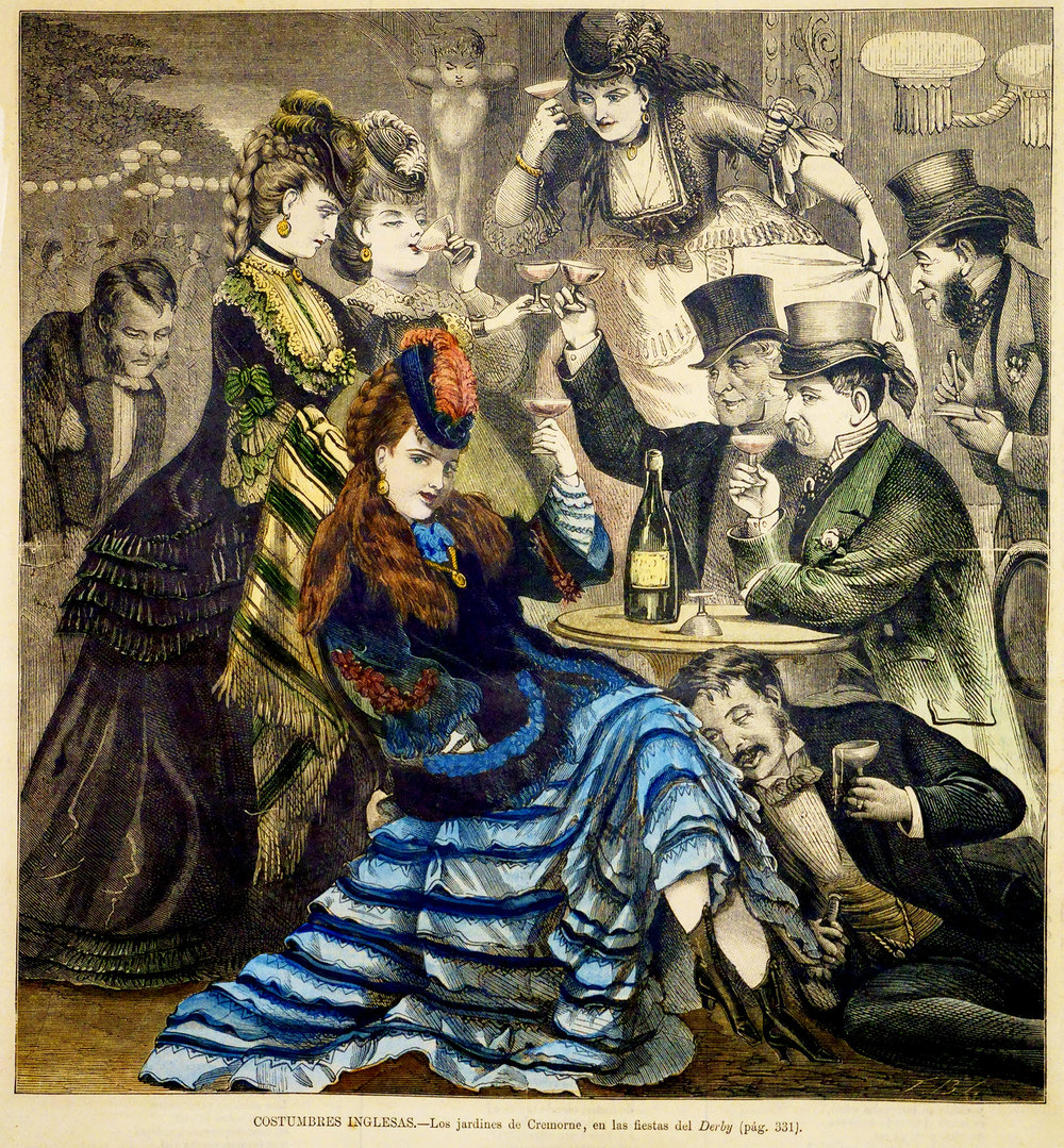 "This image was made famous on ""Cheers"" but is actually a superb, hand colored engraved print I own from a Spanish book warning Catholics about London's infamous Pleasure Gardens (Cremorne).  Love the disapproving cupid, scandalous woman's legs with drunken rich man under table all enjoying the Dom Perignon - while a man takes notes."