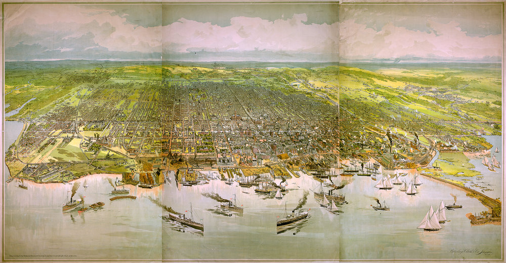 "We offer a wide range of Historic Toronto and Area Maps and fabulous Bird's Eye Views - like this one which is available at the Studio/Gallery as a 60"" x 40"" framed print."