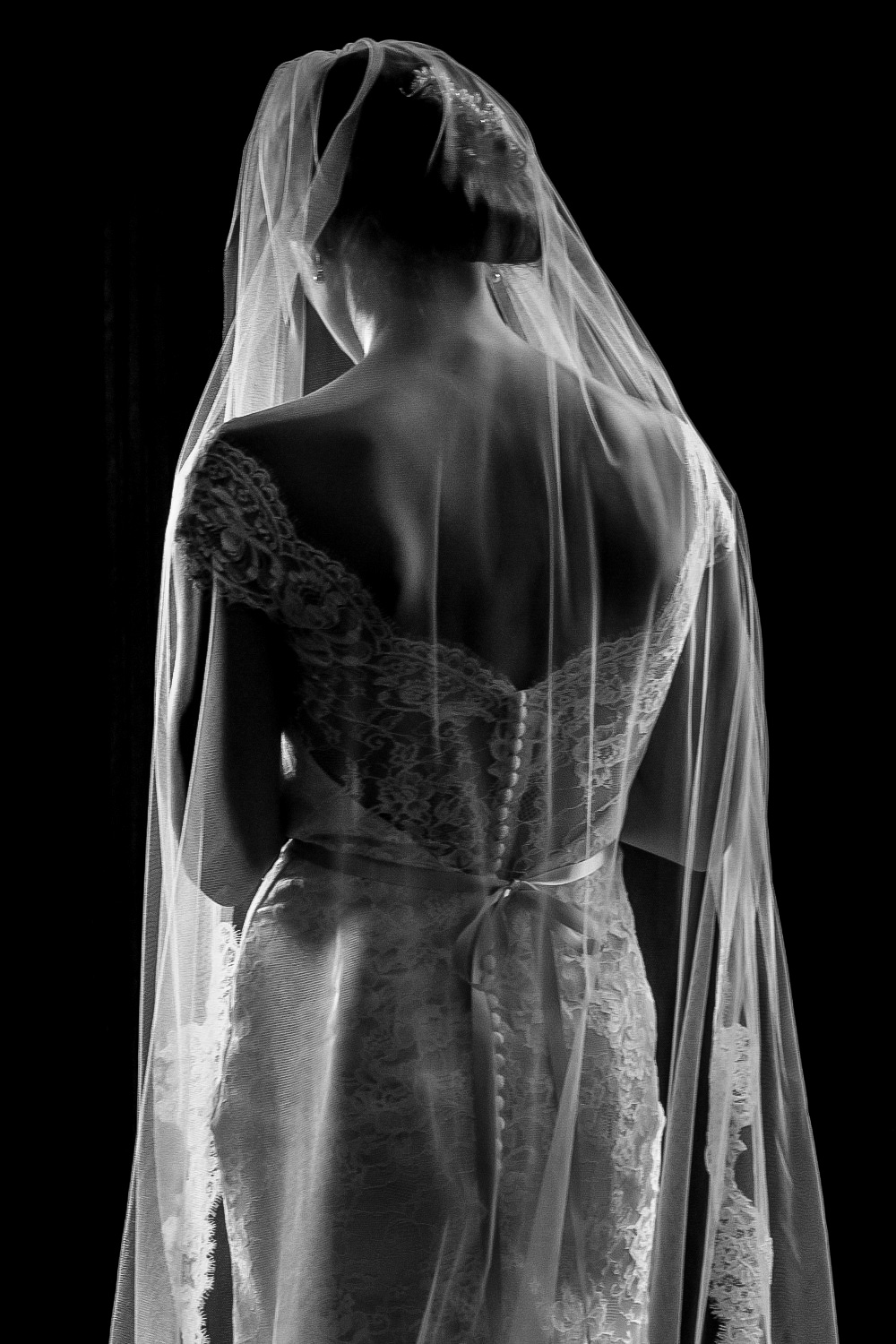 Dramatic Bridal Portrait in Norfolk, VA on Wedding Day