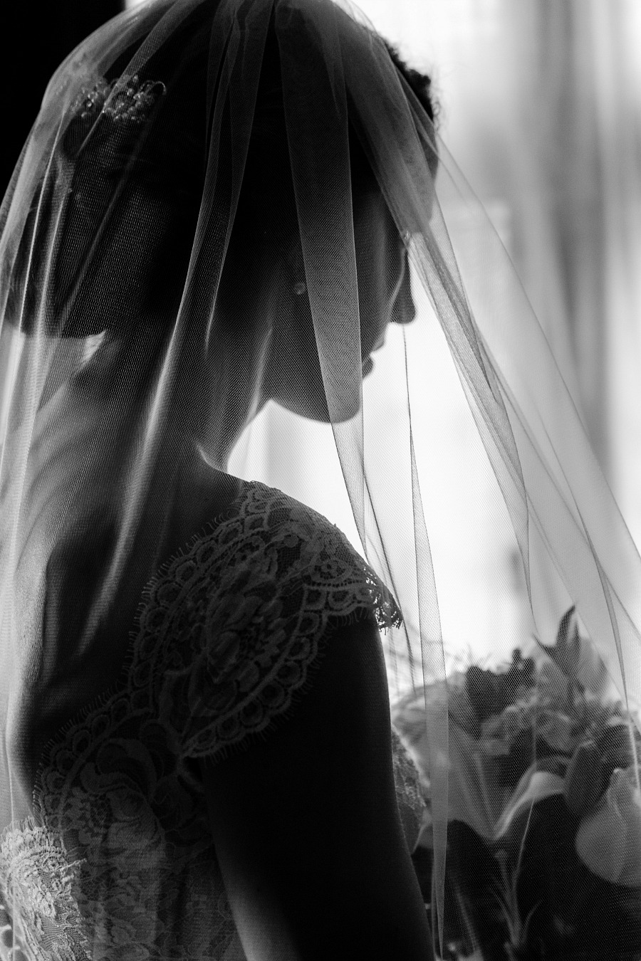 Black & White Bridal Portraits at Hermitage Museum & Gardens Norfolk, Virginia