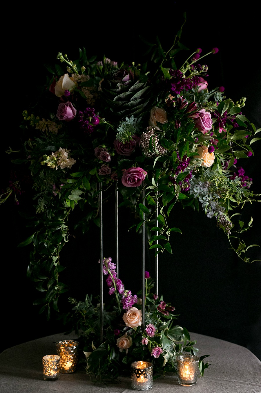 Kale & Dramatic Wedding Centerpieces for Luxury Wedding Florist Isha Foss