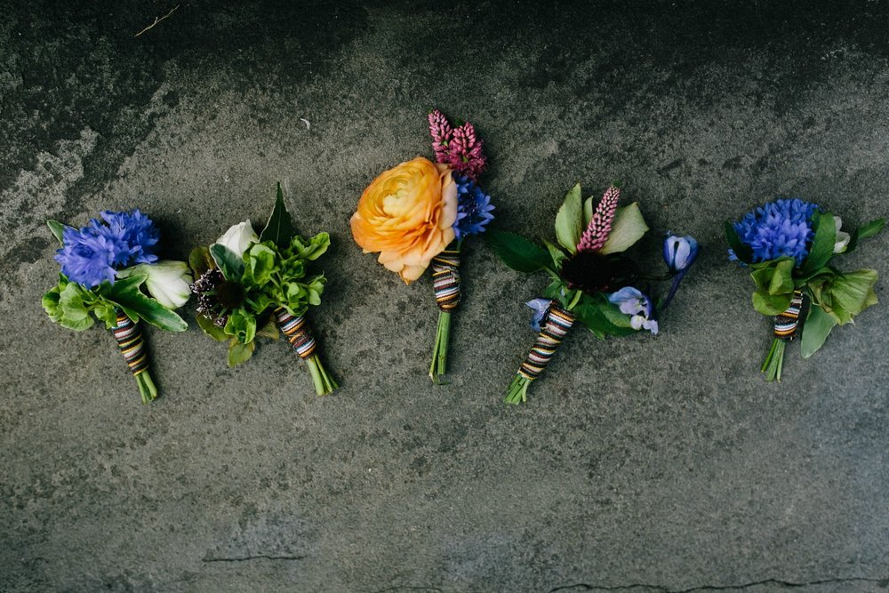 Studio Posy Wedding Florist with Paul Smith Ribbon