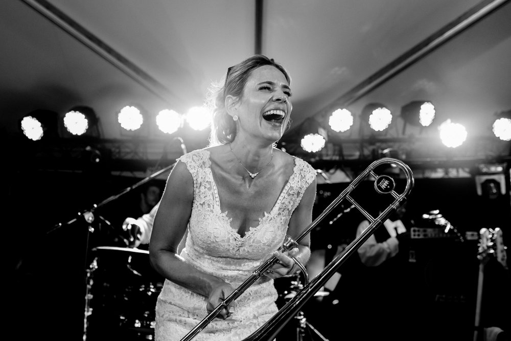 Bride with Trumpet at Reception Real Moments