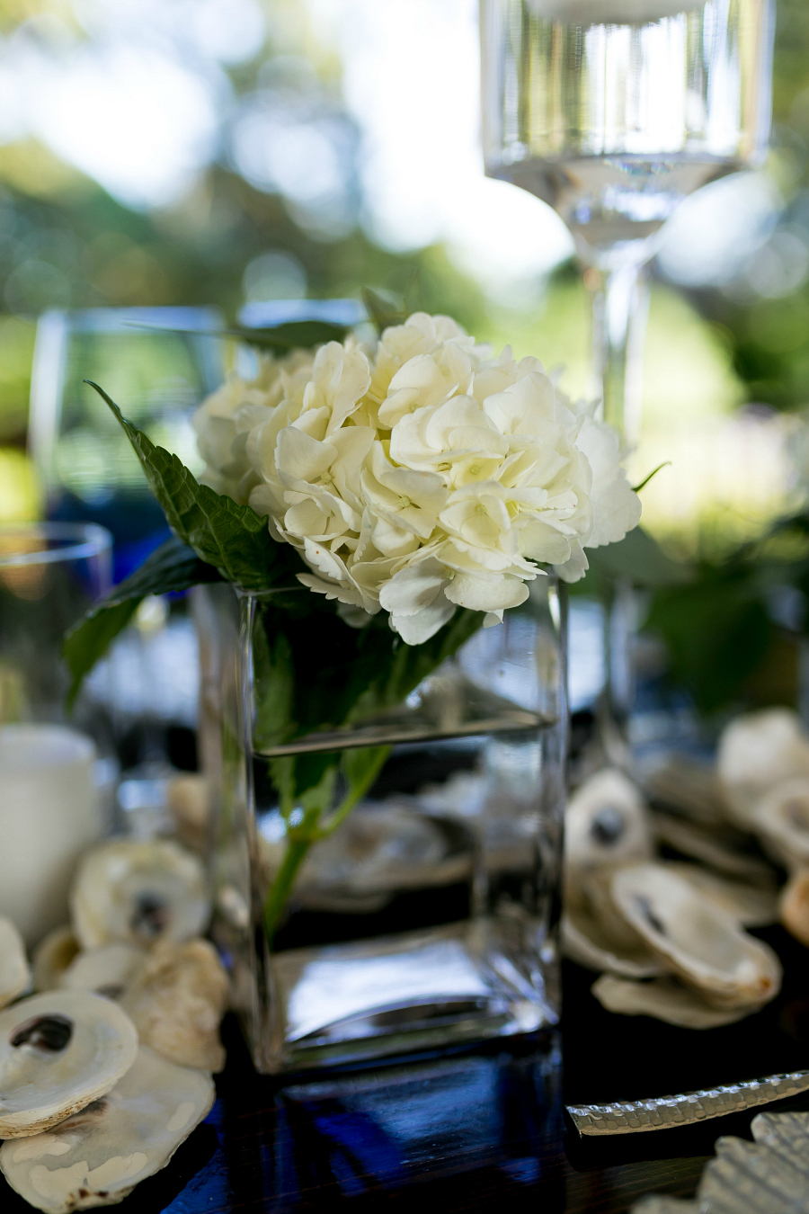 White Hydrangeas Wedding Table Settings Inspiration