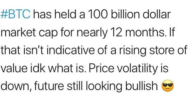 Food for thought. 🔥 ‪#BTC has held a 100 billion dollar market cap for nearly 12 months. If that isn't indicative of a rising store of value idk what is. Price volatility is down, future still looking bullish 😎‬ ‪#bitcoin #altcoins #trading #money #buy #cryptocurrencynews #crypto #investing #altcoin ‬