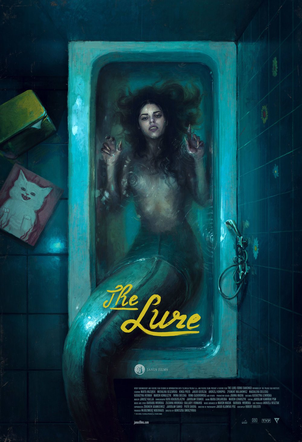 THE LURE - In this bold, genre-defying horror-musical mashup — the playful and confident debut of Polish director Agnieszka Smoczynska — a pair of carnivorous mermaid sisters are drawn ashore in an alternate '80s Poland to explore the wonders and temptations of life on land. Their tantalizing siren songs and otherworldly aura make them overnight sensations as nightclub singers in the half-glam, half-decrepit fantasy world of Smoczynska's imagining. In a visceral twist on Hans Christian Andersen's original Little Mermaid tale, one sister falls for a human, and as the bonds of sisterhood are tested, the lines between love and survival get blurred. A savage coming-of-age fairytale with a catchy new-wave soundtrack, lavishly grimy sets, and outrageous musical numbers, The Lure explores its themes of sexuality, exploitation, and the compromises of adulthood with energy and originality.